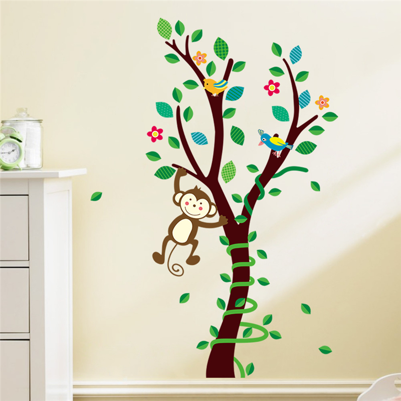 cartoon animals monkey on the tree wall stickers for kids room home wall art decor posters diy removeable decals gift