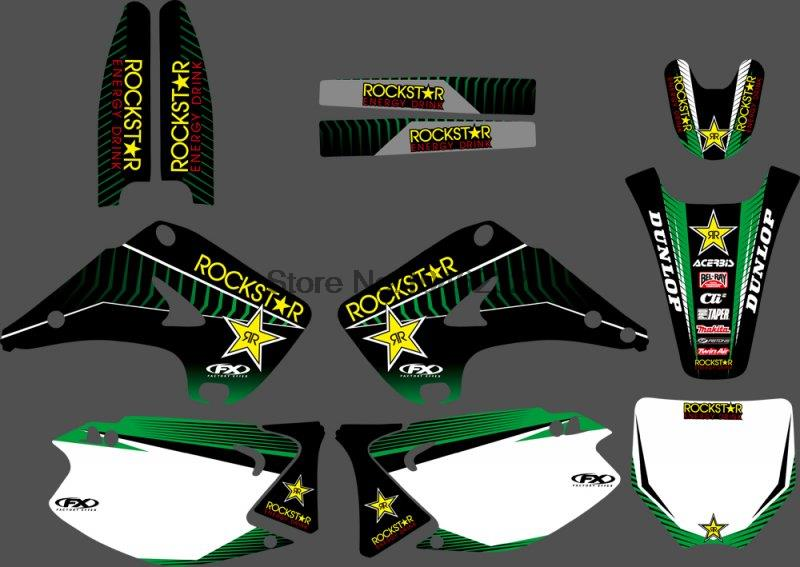 Motorcycle TEAM GRAPHICS DECALS STICKERS Kit for Kawasaki KX125 KX250 KX 125 250 2003-2012 Motocross Dirt Bike
