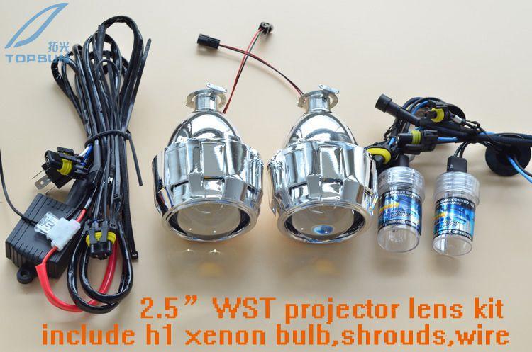 GZTOPHID Car Styling Retrofit Kit including 35W H1 HID Bi-Xenon Headlamp Bulb and Projector Lens With Mini Gatling Gun Shroud