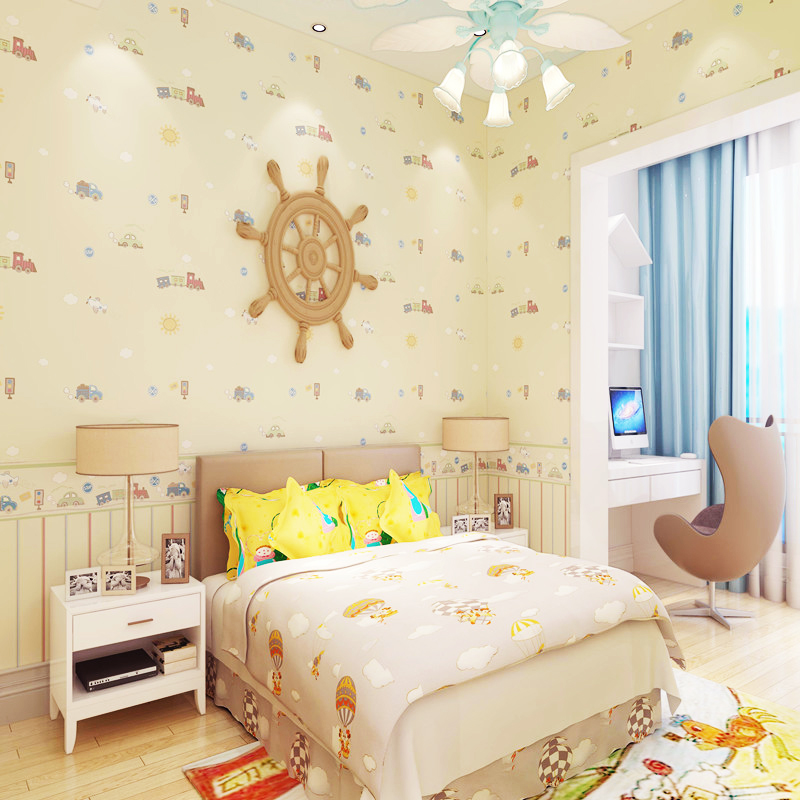 Children's room car Mediterranean self-adhesive wall papers for kids cute cartoon boy room bedroom non-woven tape wallpaper