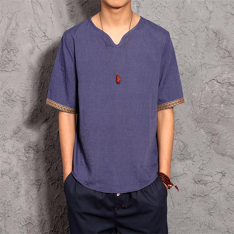 Men's Embroidered Trim Linen T-Shirt 2