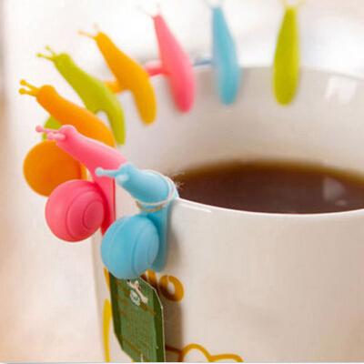 5 PCS caracol bonito forma Silicone Tea Bag Holder Cup caneca pendurado ferramenta ferramentas de chá Randome cor frete grátis