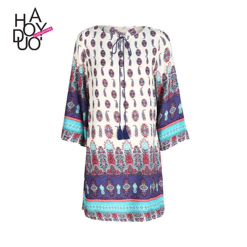 NanTong Youyuxuanzhi Store Haoduoyi autumn western style fashion cute loose print three quarter sleeve lace-up O-neck SML XL XXL woman's Casual dress