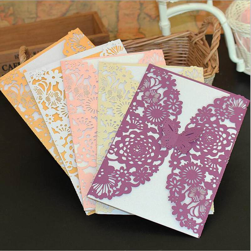 10pcs 5 Colors Butterfly Laser Cut Wedding Invitations Card Hollow Embossed  Tri Fold Elegant Customized Wedding Party Supplies