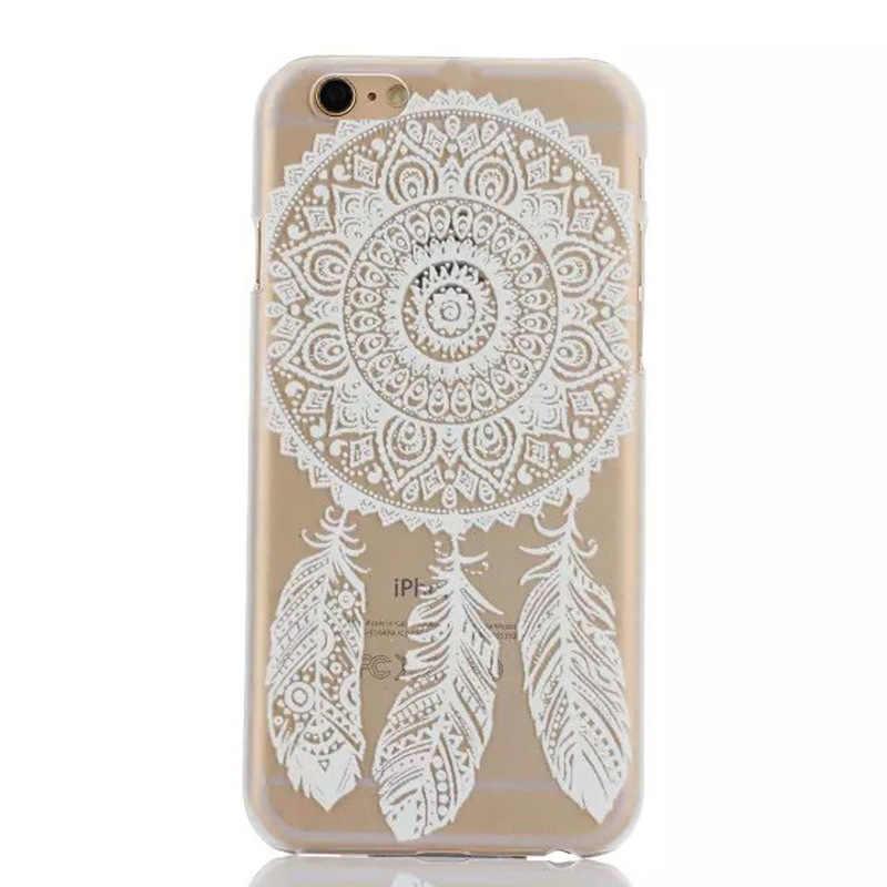 Voor IPhone X 8 5 5 s 6 6 s Plus 7 Plus Bloemen Paisley Bloem Mandala Henna Datura TPU transparante Geschilderd Clear Zachte Telefoon Geval