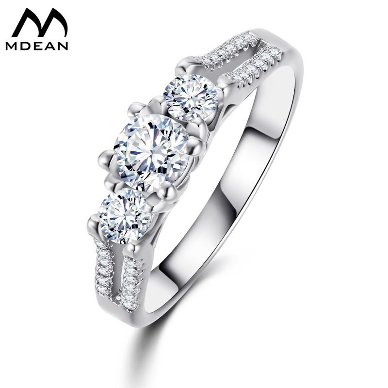 MDEAN Wedding Rings For Women White Gold Color Jewelry Engagement Vintage Ring bague zirconia fashion bijoux Accessories MSR011