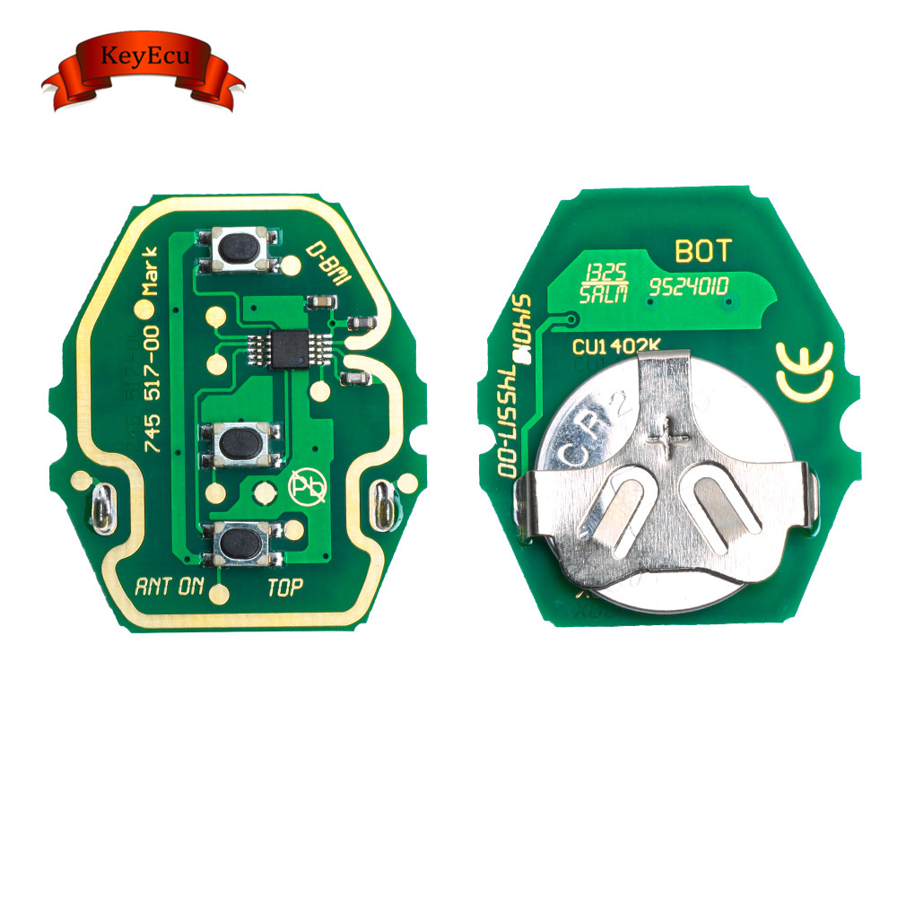 KEYECU Adjustable Frequency Remote Control Circuit Board for BMW 3 Button 433MHz/315MHZ Without Key Shell