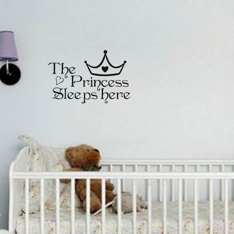 The Princess Wall Stickers Sleeps Here Wall Decals Home Decor Wall Art  Quote Bedroom Wallpaper Wall Sticker HG WS 2315 In Wall Stickers From Home  U0026 Garden ...