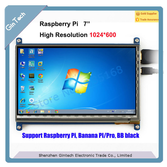 US $44 28 |7inch HDMI LCD for Raspberry Pi 1024*600 resolution 7