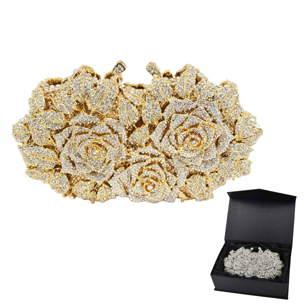 Gold Silver Evening Bag Rose Flower Holiday Party Clutch Purse Crystal Bag Stylish Day Clutches Prom