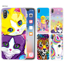 Telefoon Case Cover Shell Clear Hard PC Plastic voor iPhone XS Max XR 7 8 6 6 s Plus X 5 5 s SE 5C 4 4 S Lisa Frank Schilderen Coque Capa(China)