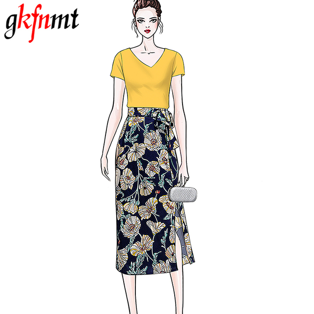 be8204f7def gkfnmt Two Pieces Suits Sets Women Cotton White Yellow Tshirt Top Sexy  Chiffon Floral Skirt Women Clothing Korean XXL