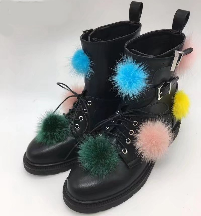 Black Leather Mid-calf Boots Women's Motorcycle Boots Autumn and winter Women's Boots Faux fur decoration boots faux fur white winter boots
