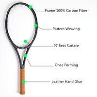 黒炭素繊維テニスラケットヘッドサイズ97 sq. in。重量340グラムハンドルサイズ4 1/4、4 3/8、4 1/2でバッグ