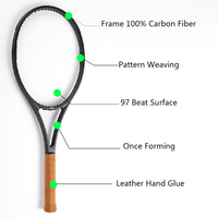Black Carbon Fiber Tennis Racket Head Size 97 sq.in. Weight 340g Handle Size 4 1/4,4 3/8,4 1/2 with bag