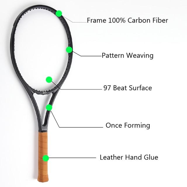 Black Carbon Fiber Tennis Racket Head Size 97 Sq In Weight 340g