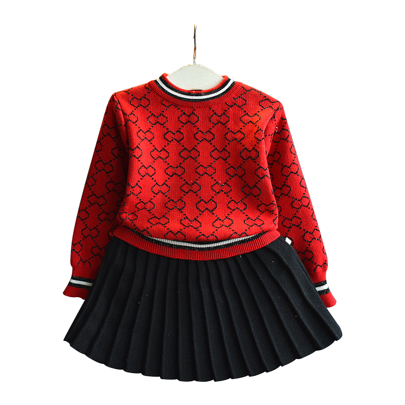 edf1dcacd 2019 otoño niñas nuevo suéter Camisa + cien falda arrugada conjunto de dos  piezas moda salvaje