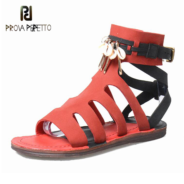 Prova Perfetto Mixed Color Narrow Band Rome Flat Sandals Shoes Women Buckle Tassel Metal Fringe Cow Leather Casual Summer Shoes prova perfetto rome style mixed color tassel flowers summer sandals shoes thick heel wedge platform clip toe sandals for women