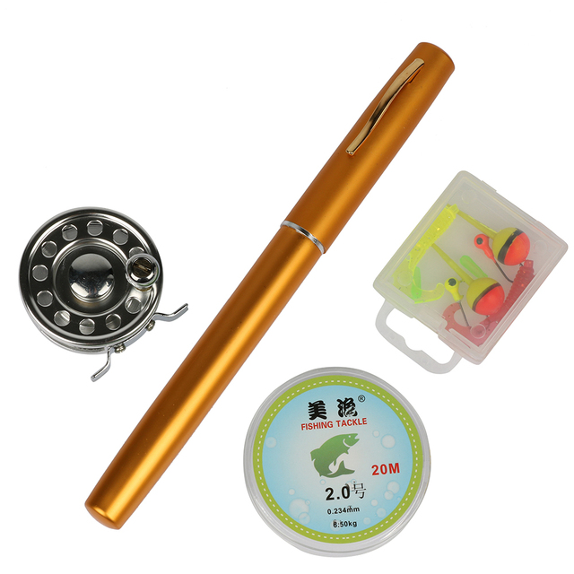 Mini Fly Fishing Rod And Reel Combos Aluminum Alloy Portable Telescopic Pen Fishing Pole Extended 99cm