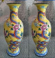 A Pair of Exquisite ancient Chinese colored enamel (copper) dragon and phoenix vase