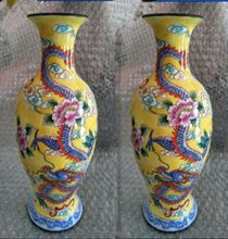 The ancient Chinese colored enamel (copper),a pair of dragons and phoenixes vase