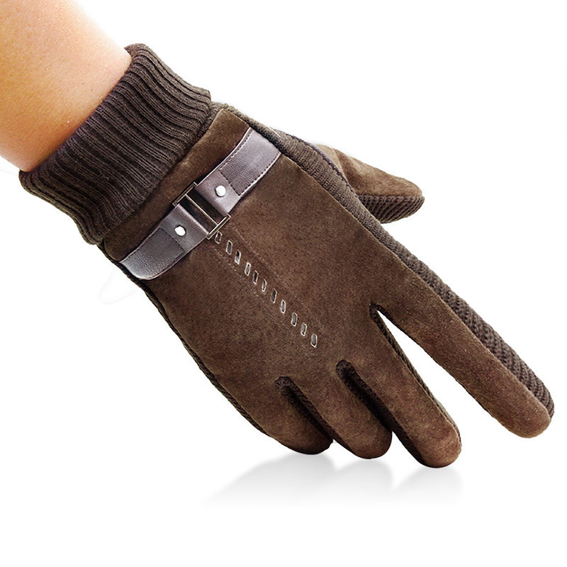 Mens Big Size Genuine Leather Pigskin Flexible Knit Wool Gloves Winter Thicken Fleece Warm Moto Cycling Gloves Male Mittens A32