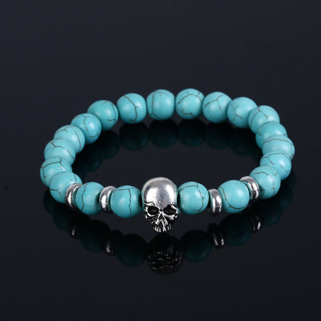 Personality Skull Elastic Beads Bracelet Men S Jewelry Natural Stone Chain Bangle Boys