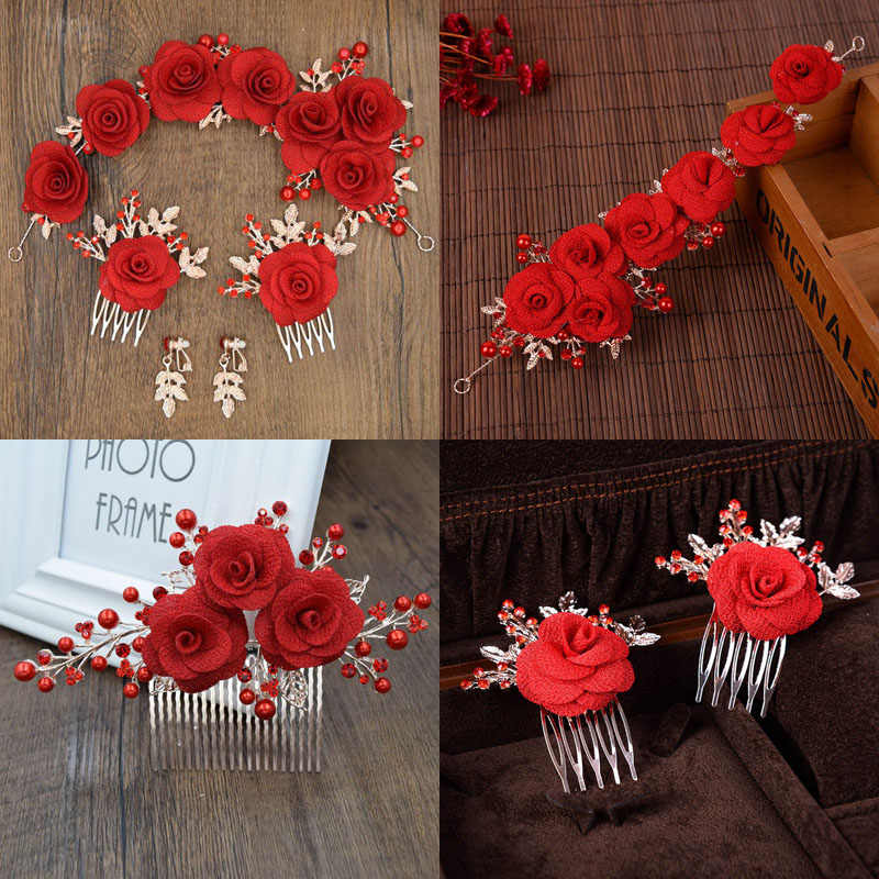 Gorgeous Red Yarn Flower Headband Crown Tiara Princess Gold Color Hairband Hair Comb Bridal Wedding Party Women Headpieces