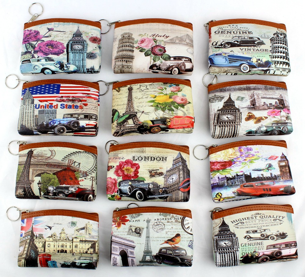 Children's Vintage Eiffel Tower Coin Purses Girl Big Ben Change Purse Women Zipper Coin Bag Lady Zero Wallet Female Kids's Pouch