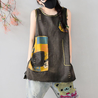 WomenDenim Tees Tanks Cotton Tops T Shirt Sleeveless for Girls O Neck Patchwork Cute Fashion Casual for Summer Z8048