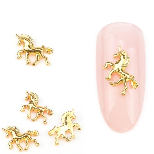 MNS623 Oro nail forma Unicornio encantos del metal del Oro del arte ...