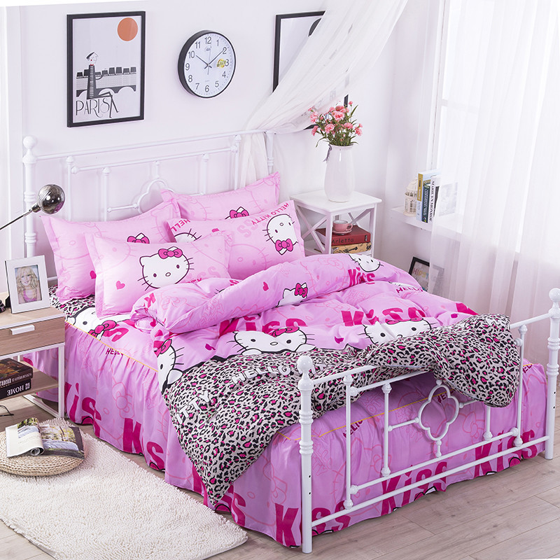 Hello Kitty 4 Pc Bed Skirts Bedding Set  Bedding Bedspreads Sheet Bed for  Bed Cover Duvet Cover Bed Shirt Pillowcases Cover Set