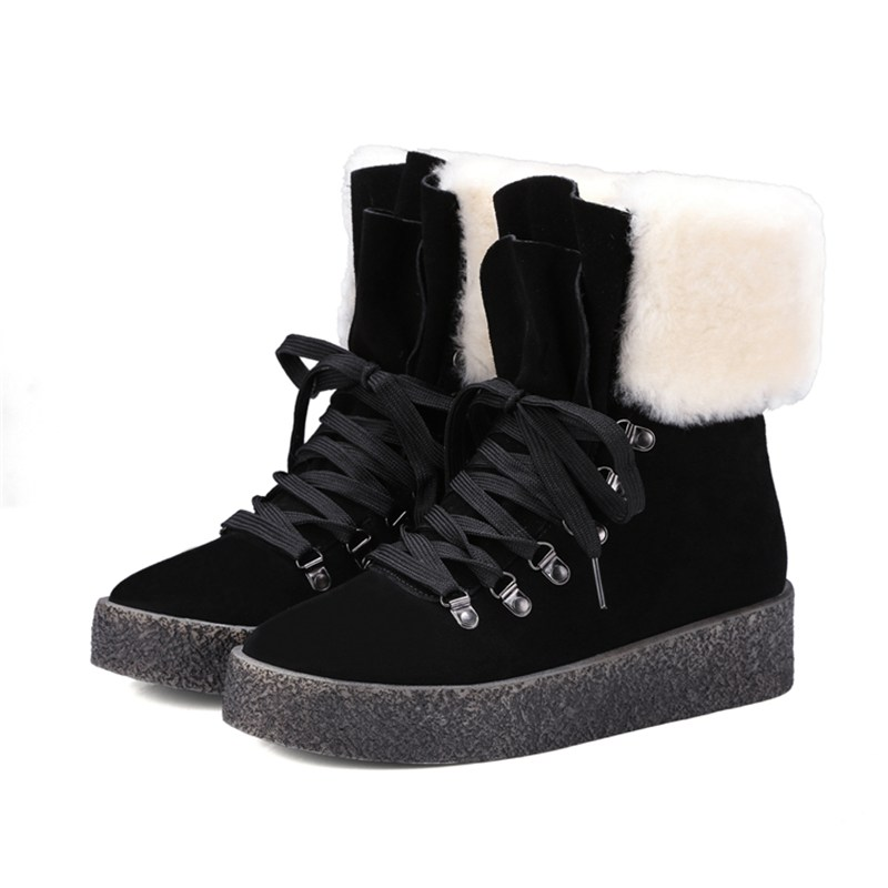 High Quality Genuine Sheepskin Real Fur 100% Wool Women Winter Snow Boots Lace Up Wome Ankle Shoes 86261 2016 australia fashion high quality waterproof genuine sheepskin leather snow boots real fur 100% wool women winter snow boots