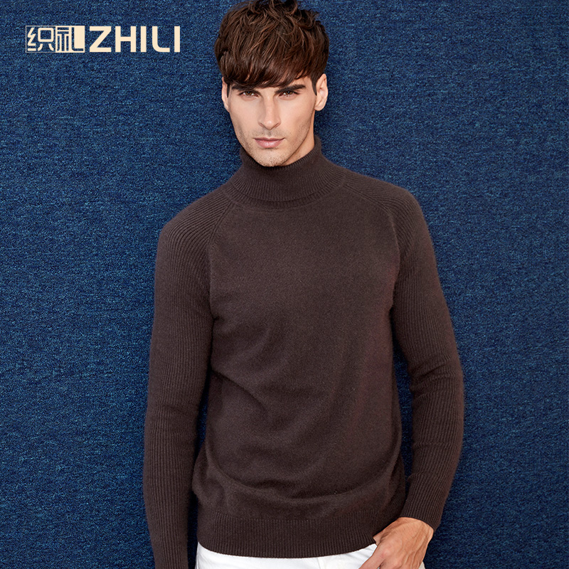2017 High Quality Winter Warm 100% Cashmere Sweater Men Turtleneck Brand Sweaters Slim Fit Pullover Knitwear Double Collar Soft