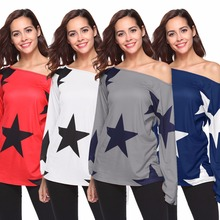 Star Pattern Women's T-Shirt Fashion Street Style Print Women's T-Shirt Long Sleeve T-Shirt Loose Slim Women's T-Shirt