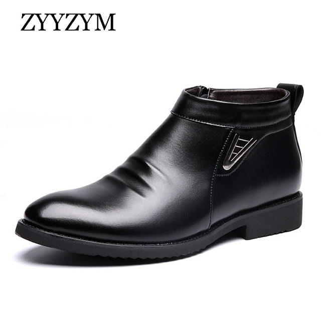 ZYYZYM Mens Boots Winter Short Plush Keep Warm Business Casual Leather Chelsea Boots Solid Color Cotton Male Boots