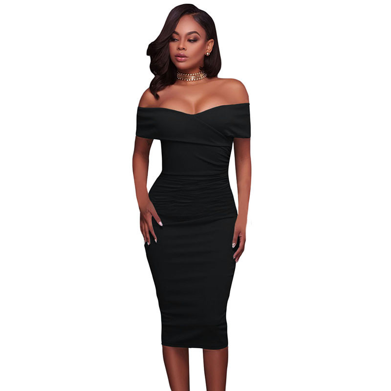 ADEWEL Women Sexy Off Shoulder Strapless Midi Dress Ruched Elegant Bodycon Dress Party Clubwear Pencil dress 39