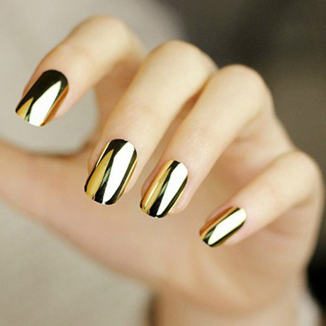 Gold Silver Design Nail Art