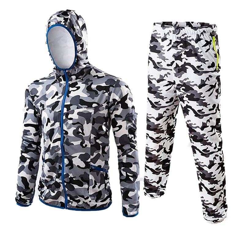 2018 New summer camouflage Outdoor fishing clothes breathable quick dry Anti UV Anti mosquit long sleeve hooded fishing Shirts