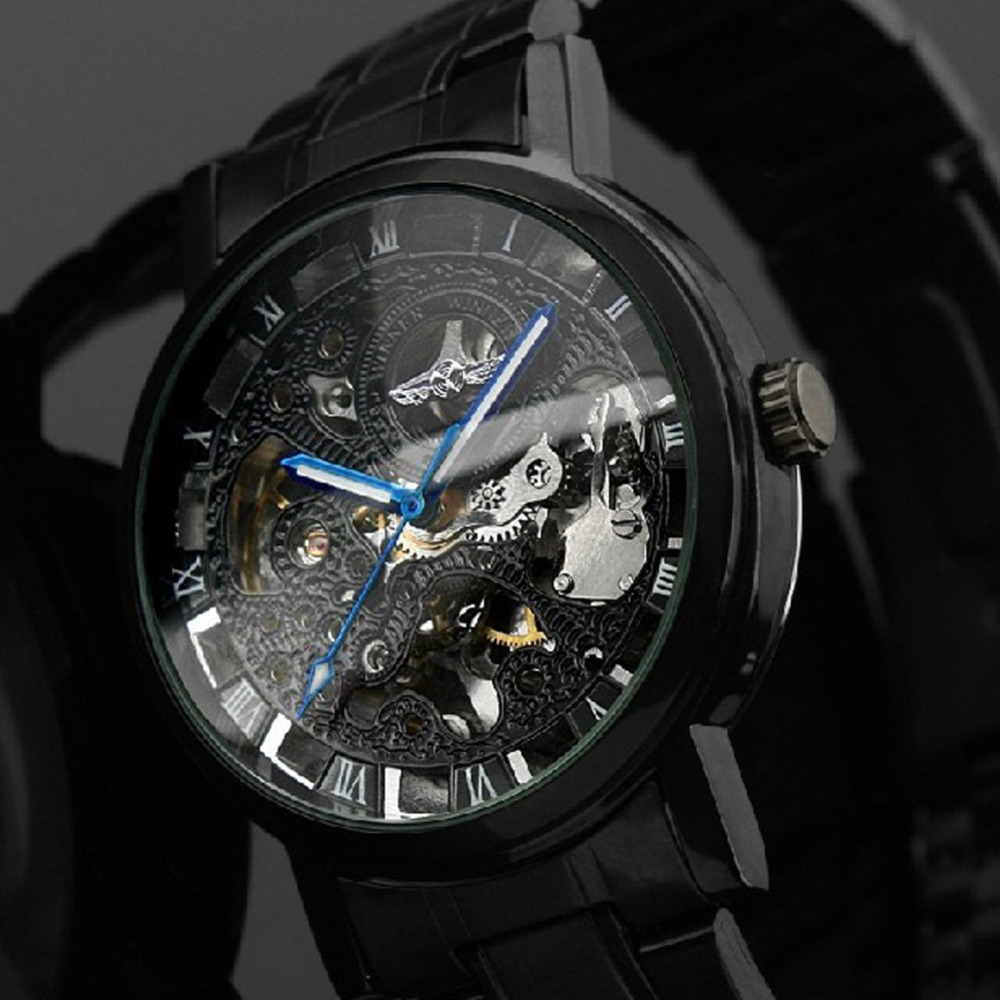 aliexpress com buy classic black steel automatic mechanical aliexpress com buy classic black steel automatic mechanical skeleton watch men clock gift from reliable gifts for 14 year olds suppliers on intime you