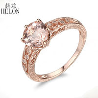 HELON Solid 10K Rose Gold 7.5 8mm Round Morganite Antique Natural Diamond Engagement Wedding Ring Art Deco Fine Jewelry Ring
