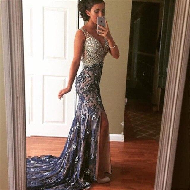 c2d5cd91f Vestidos De Fiesta Azul Marino Sirena Del Cordón Del Vestido de Noche 2016  Elegante Sexy Escote