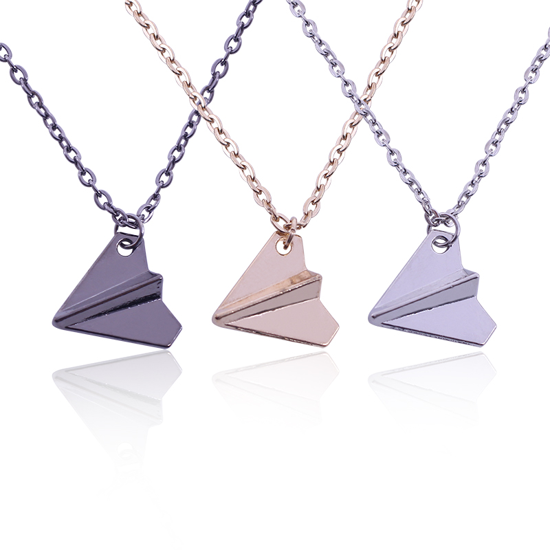 The Latest Personality Paper Airplane Necklace Temperament Boys Gold Black Three Colors Optional Jewelry Gift Selection image
