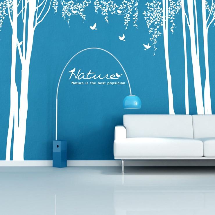 Arbre et oiseaux grand Sticker Mural Design forestier arbre Mural Art stickers muraux chambre plante revêtement Mural papier peint décoration de la maison