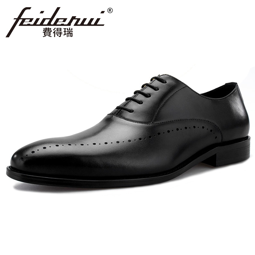 2018 New Luxury Handmade Genuine Leather Mens Banquet Runway Oxfords Round Toe Man Formal Dress Wedding Party Shoes BQL20