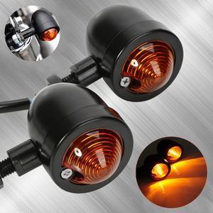Image 1 - Yetaha 2Pcs Motorcycle Turn Signals Light Cafe Racer Mini Black Bullet Blinker Amber Indicator Lamp For Yamaha Honda Suzuki