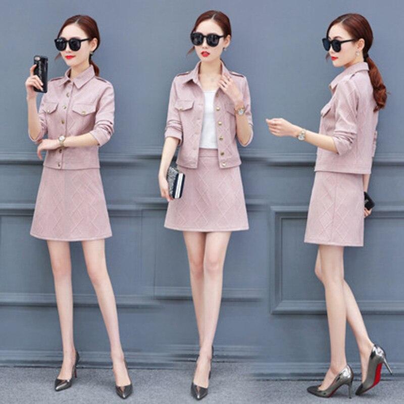 Khaki Jupes pink Femmes Pièces Costumes Et Akslxdmmd Printemps Deux Yr056 Mode Tops Ensemble Automne Manteau beige Jupe De black UqXdZw