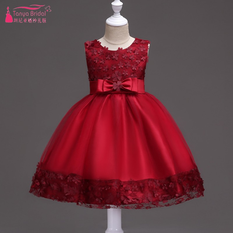 Mint Green Ball Gown Knee Length Flower Girl Dresses In Stock Burgundy/blue/purple flower girl dresses for weddings DQG283