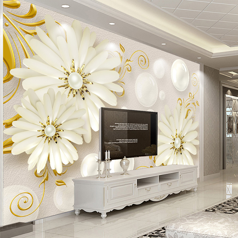 Custom Photo Wallpaper Murals 3D Stereo Relief Flower Jewelry Modern Simple Living Room Non-woven Fabric Wallpaper For Walls 3 D