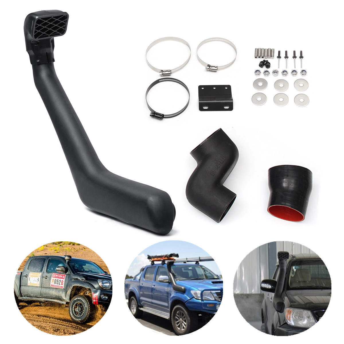 for Toyota for Hilux 25/26 SR/5 2005-2014 Snorkel Kit Petrol Diesel Air Raise Intake Drainage Outlets Increase Fuel Economy Life cnspeed air intake pipe kit for ford mustang 1989 1993 5 0l v8 cold air intake induction kits with 3 5 air filter yc100689